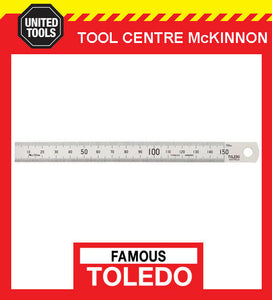 FAMOUS TOLEDO 150BM 150mm STAINLESS STEEL SINGLE SIDED METRIC RULE