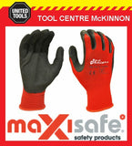 MAXISAFE RED KNIGHT GRIPMASTER LATEX PALM GENERAL PURPOSE WORK GLOVES – LARGE