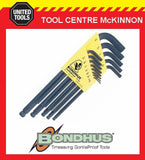 BONDHUS 10937 13pce A/F LONG ARM BALL POINT HEX ALLEN KEY SET – MADE IN USA