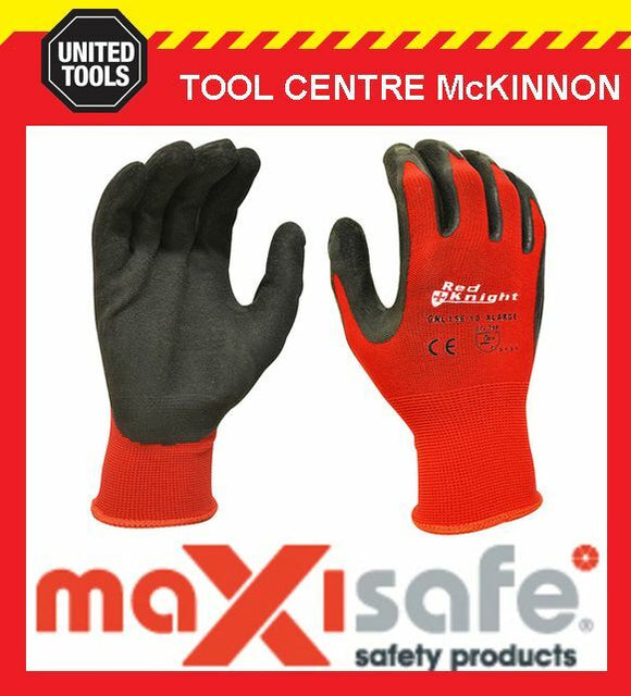 MAXISAFE RED KNIGHT GRIPMASTER LATEX PALM GENERAL PURPOSE WORK GLOVES – XX-LARGE