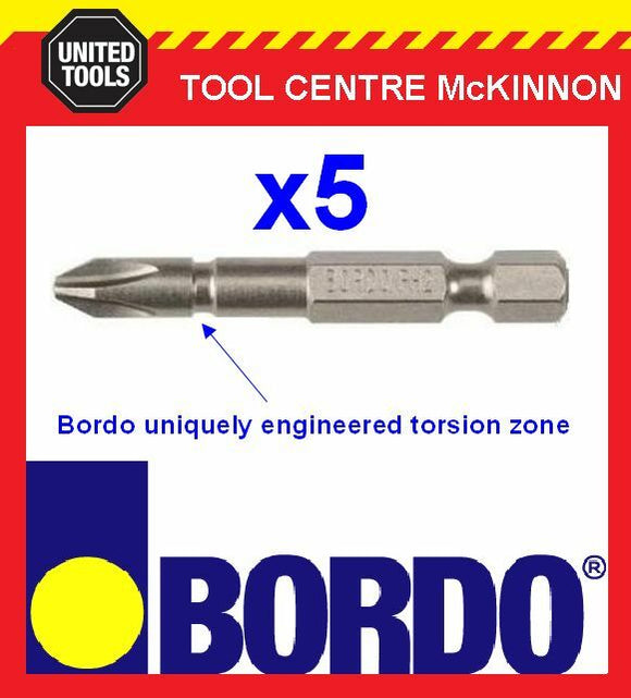 5 x BORDO IMPACT PH2 X 50mm POWER INSERT BITS – GREAT FOR IMPACT DRIVERS!
