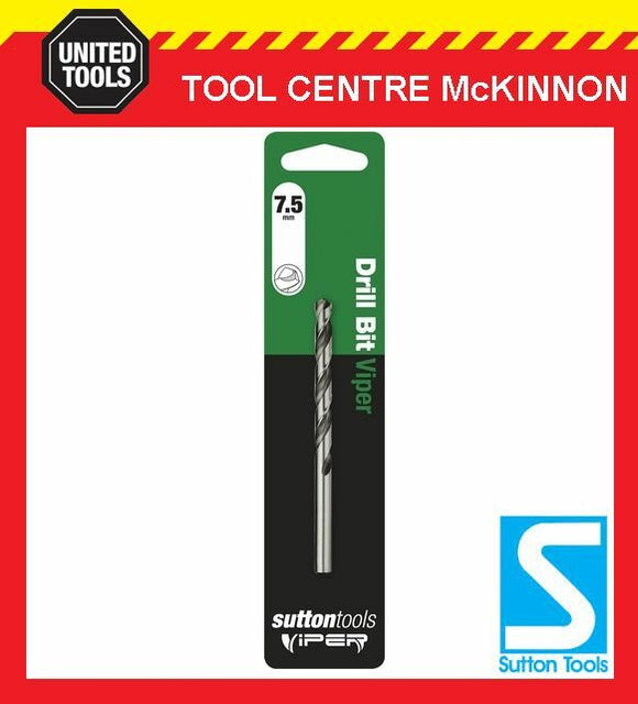 SUTTON VIPER 7.5mm HSS METRIC JOBBER DRILL BIT – WOOD, METAL & PLASTIC