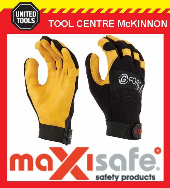 MAXISAFE G-FORCE PREMIUM LEATHER MECHANICS SAFETY WORK GLOVES – X-LARGE