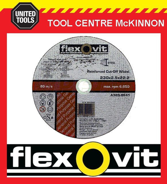 "5 X FLEXOVIT 230mm / 9"" REINFORCED METAL CUT-OFF WHEEL"