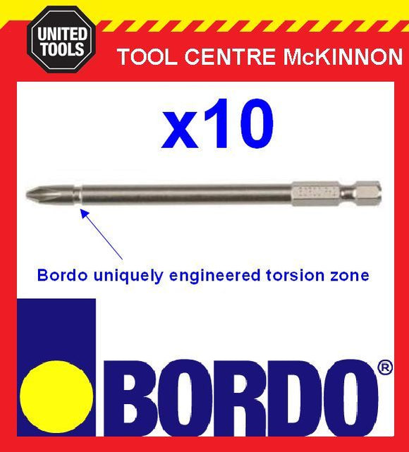 10 x BORDO IMPACT PH2 X 100mm POWER INSERT BITS – GEAT FOR IMPACT DRIVERS!