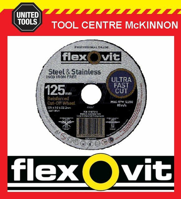 "10 x FLEXOVIT 125mm / 5"" MEGA-LINE ULTRA THIN METAL CUTTING CUT-OFF WHEEL"