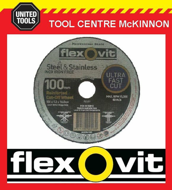 "10 x FLEXOVIT 100mm / 4"" MEGA-LINE ULTRA THIN METAL CUTTING CUT-OFF WHEEL"