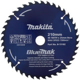 MAKITA B-15182 BLUEMAK 210mm x 40 TEETH 25mm BORE TCT CIRCULAR SAW BLADE
