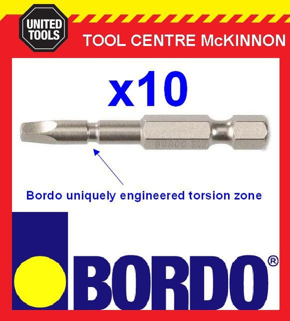 10 x BORDO IMPACT SQ2 X 50mm POWER INSERT BITS – GEAT FOR IMPACT DRIVERS!