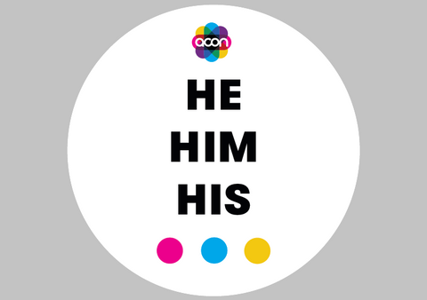 Wearable Badge Button with Pronouns - he him his