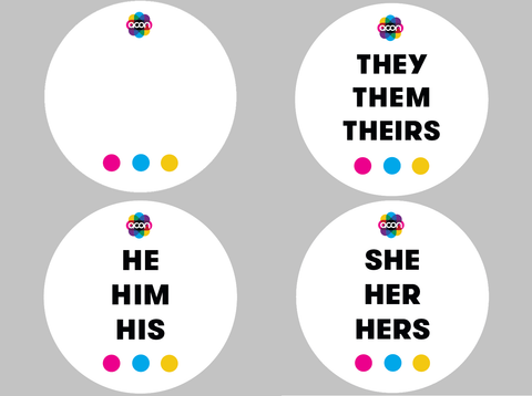 Pronoun Button Badge Set of 30