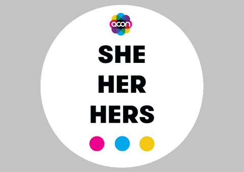 Wearable Badge Button with Pronouns - she her hers