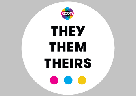Wearable Badge Button with Pronouns - they them theirs