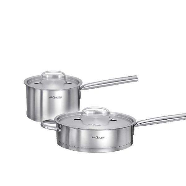 2 Pcs Stainless Steel Induction Cookware Set-Stainless Steel Cookware Set-Chef's Quality Cookware