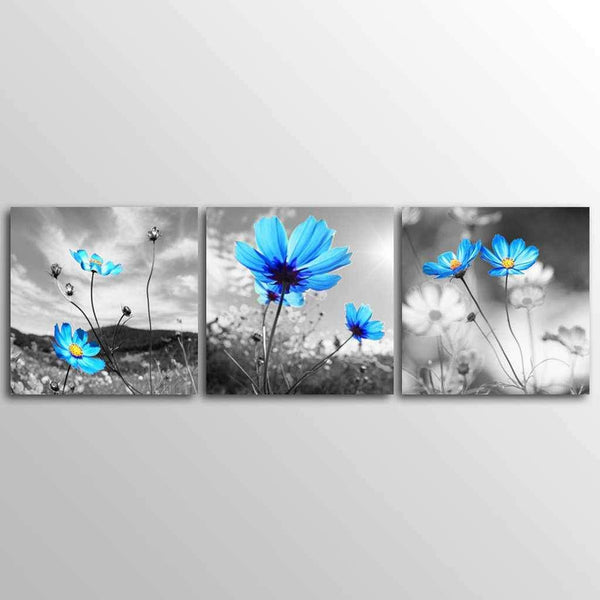 Blue Flowers - 3-Panel Canvas Prints-wall art-Chef's Quality Cookware