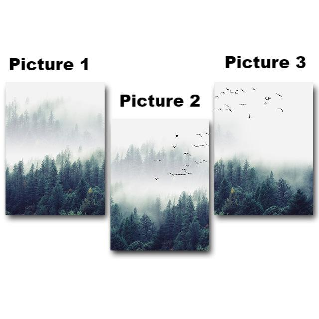 Nordic Forest - 3-Panel Canvas Wall Art-wall art-Chef's Quality Cookware