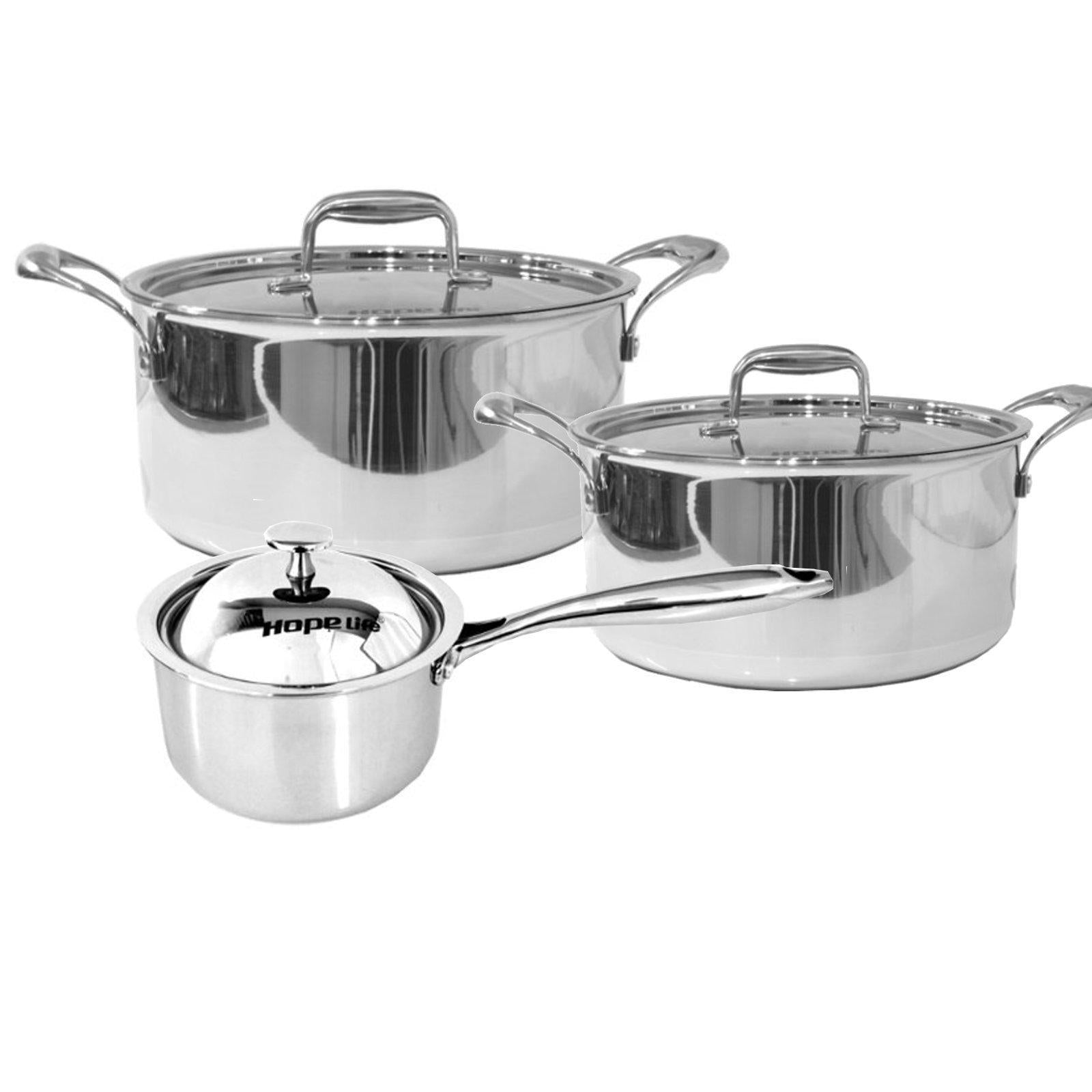 3 Pcs Stainless Steel Tri-Ply Casserole & Saucepan Set-Stainless Steel Cookware Set-Chef's Quality Cookware