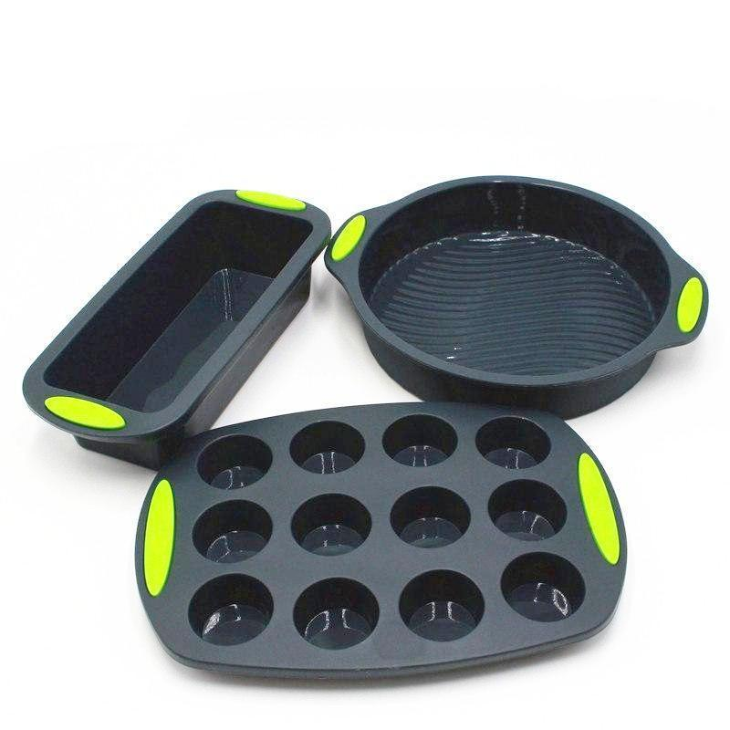 3-Piece Silicone Baking Pan Set-Bakeware-Chef's Quality Cookware