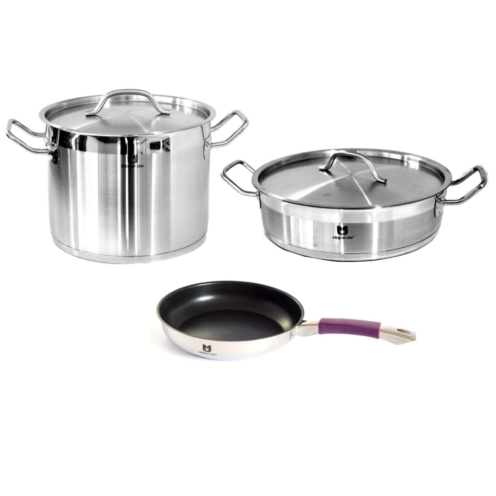 3Pcs Stainless Steel Cookware Set-Stainless Steel Cookware Set-Chef's Quality Cookware