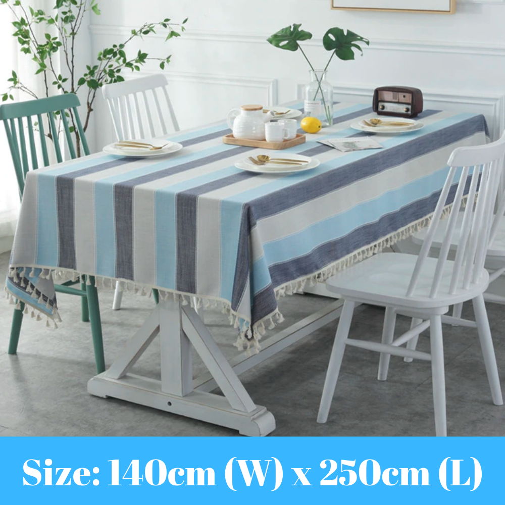 Blue & Grey Striped Tablecloth