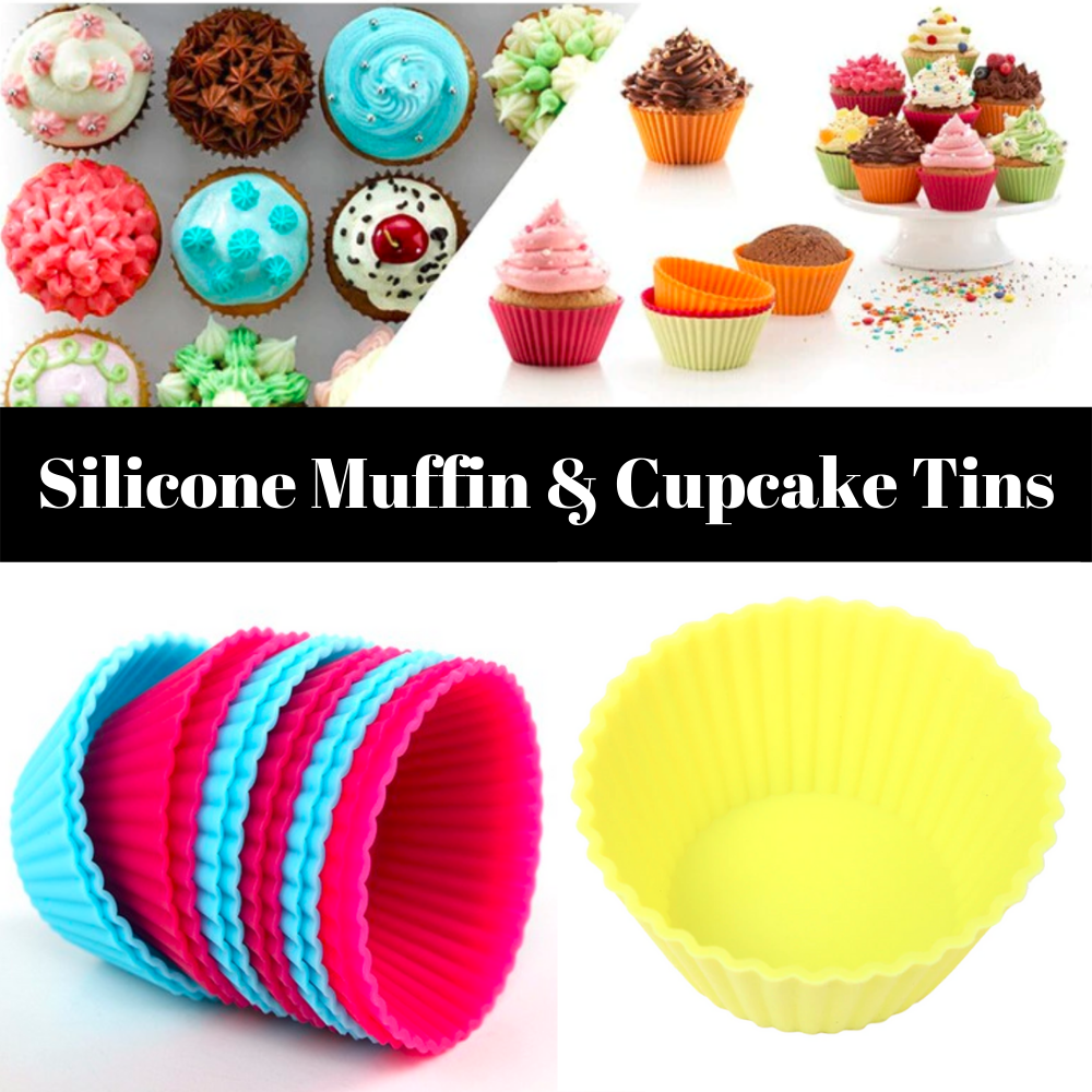 Reusable 12 Piece Mini Muffin Cup Set - Cupcake Tins Made from Silicone