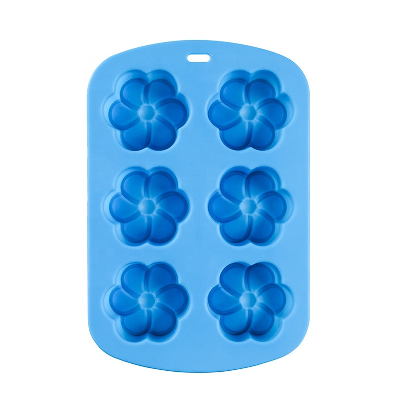 6 Flower Cupcake Tin - Silicone Cake Baking Mould