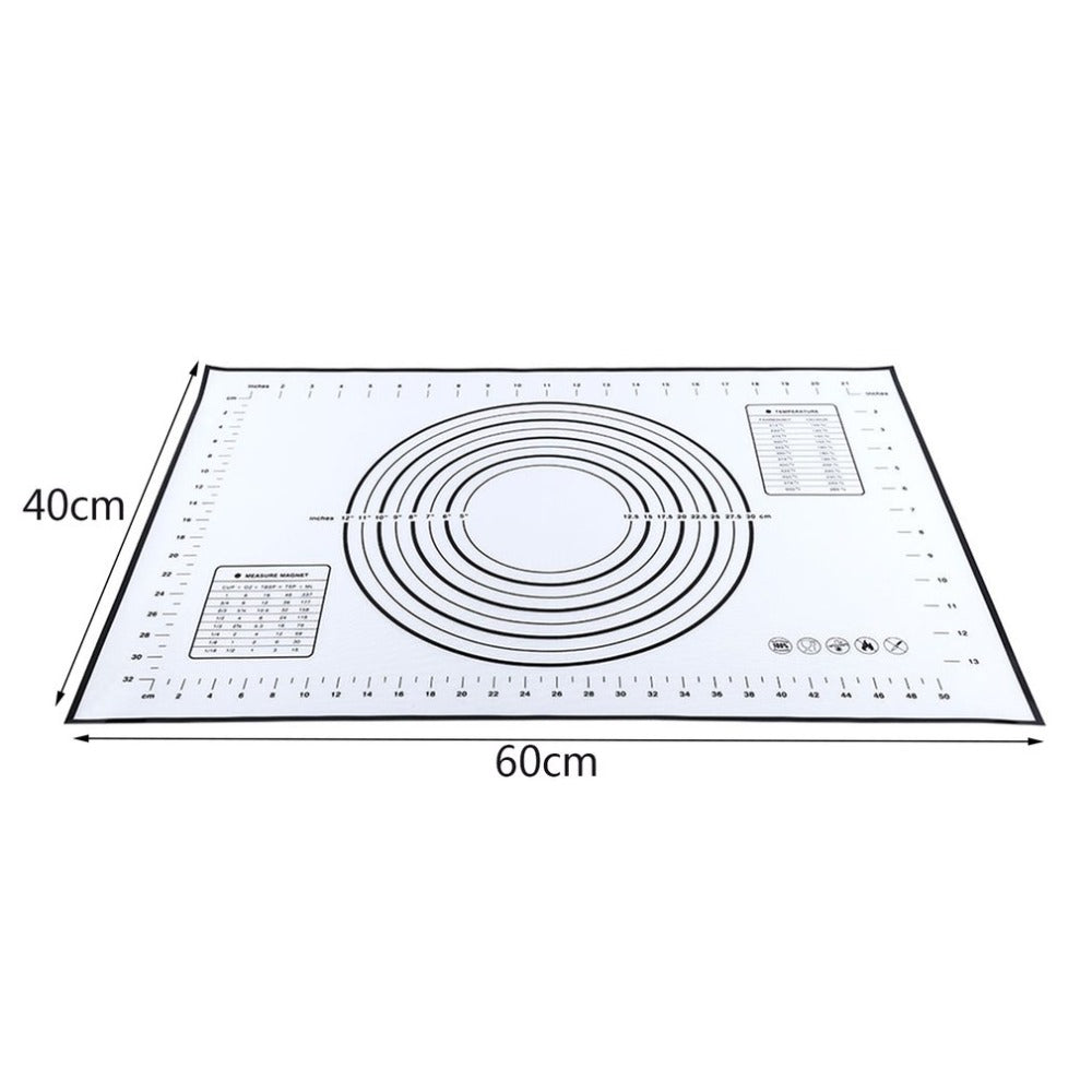 Non-Stick Rolling & Baking Mat - Cake, Cookie & Pizza Dough Silicone Pastry Sheet