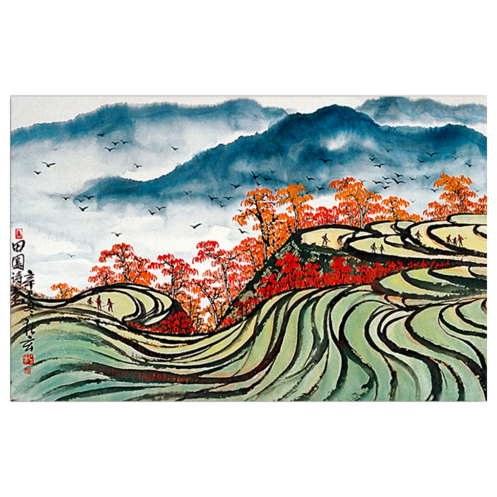 Autumn On A Terraced Paddy - Canvas Wall Art