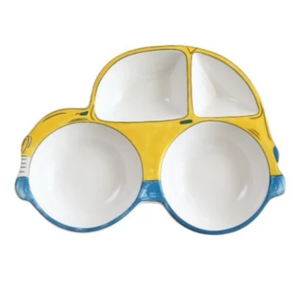 The Yellow and Blue Car - Ceramic Dish For Kids