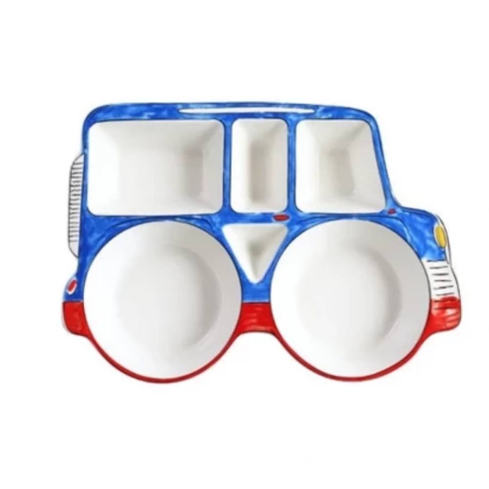 Blue and Red Jeep - Ceramic Dish For Kids