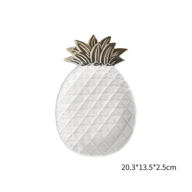 Artistic Pineapple and Leaf Ceramic Plates-Plate-Chef's Quality Cookware