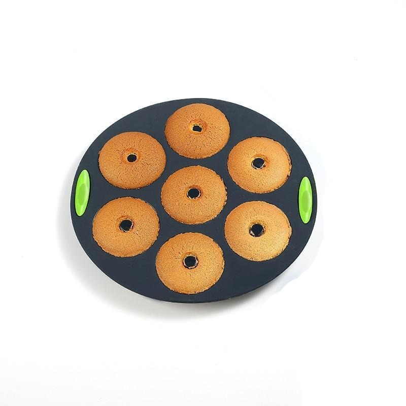 Baking Pan – 7 Hole Doughnut Baking Pan Made from Silicone-Cake Pan-Chef's Quality Cookware