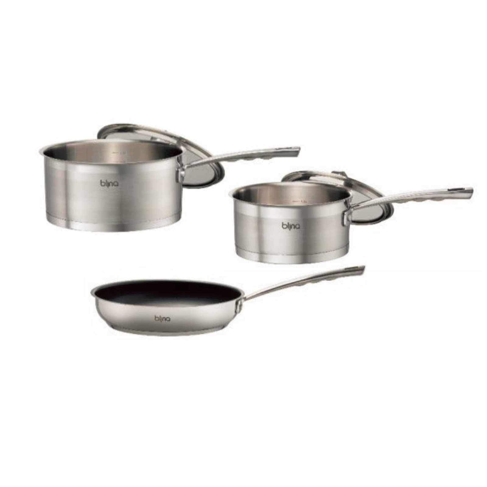 Blinq Gourmet 3pcs Induction Cookware Set - Stainless Steel-Stainless Steel Cookware Set-Chef's Quality Cookware