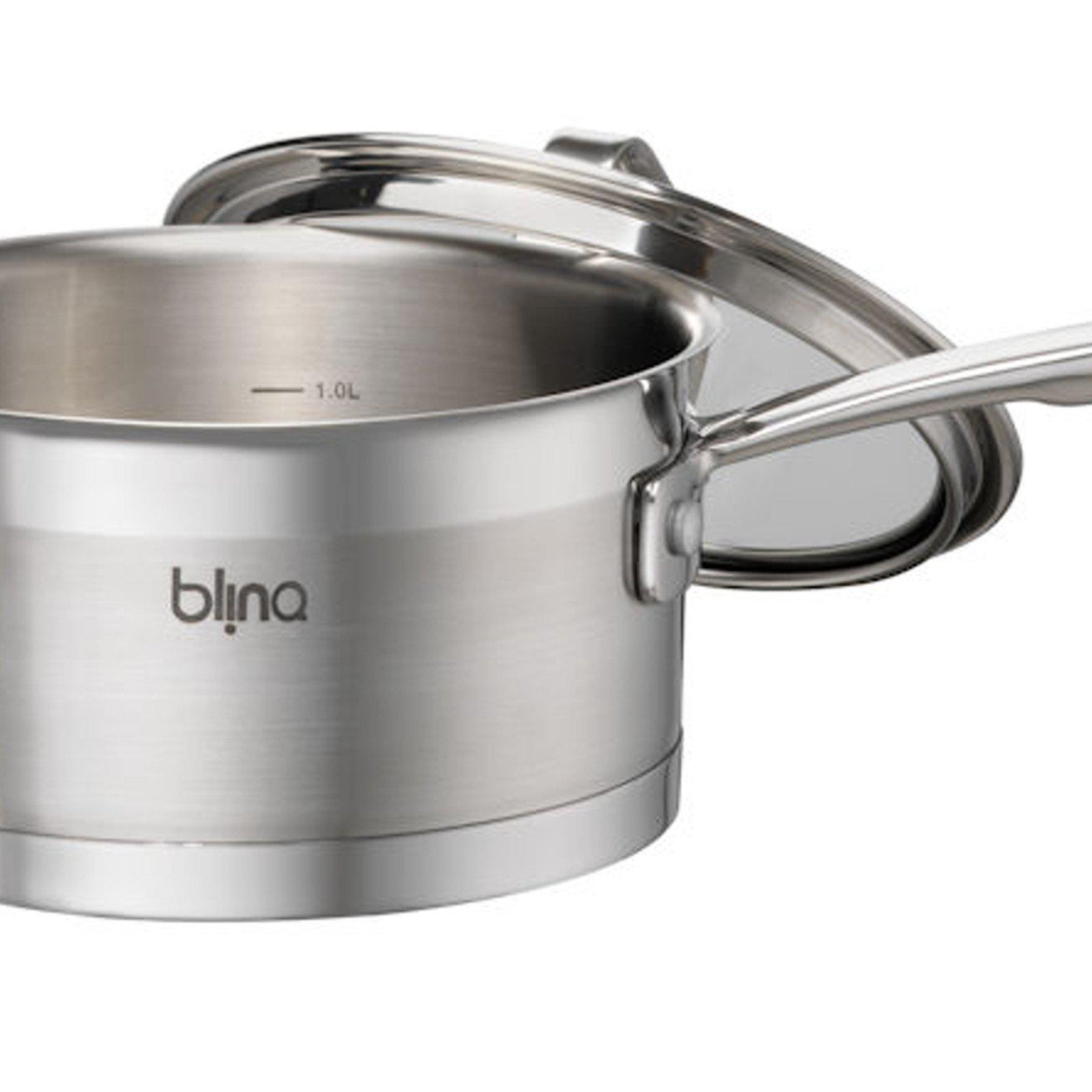 Blinq Gourmet Saucepan - 16 cm / 1.6 Litre Induction Compatible Saucepan with Lid-Stainless Steel Cookware-Chef's Quality Cookware