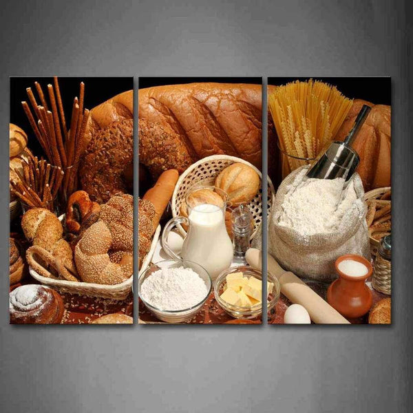 Bread and Dairy - 3-Panel Canvas Wall Art-wall art-Chef's Quality Cookware