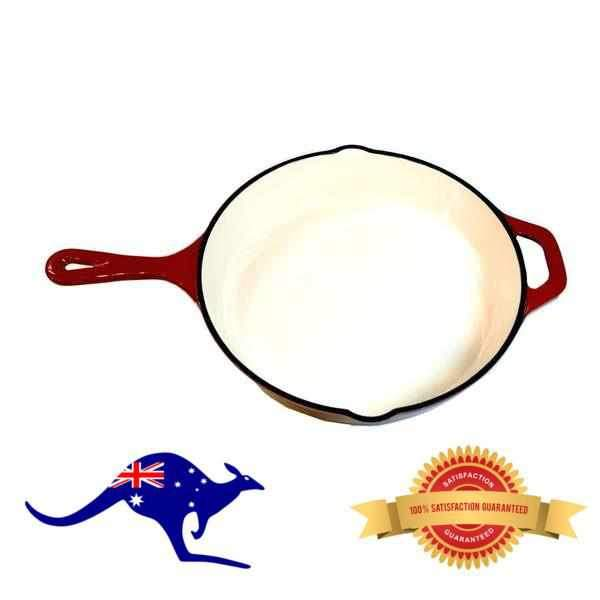 Chef's Quality Cast Iron Enamel Skillet Frying Pan 25cm-Cast Iron Enamel-Chef's Quality Cookware