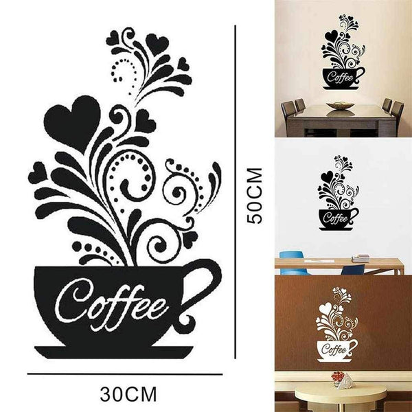 Coffee Cup Heart Kitchen Art - Wall Sticker-wall art-Chef's Quality Cookware