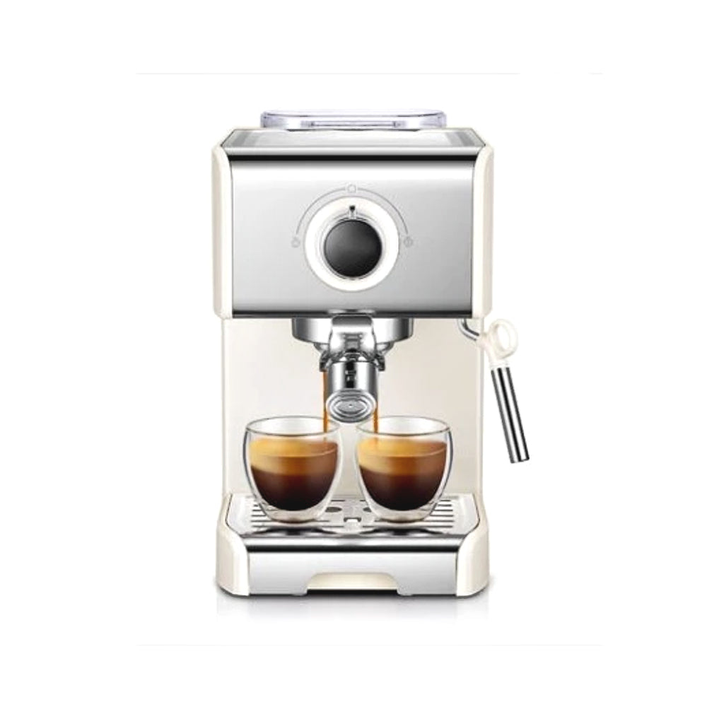 Stainless Steel & White Espresso Coffee Maker with Milk Frother