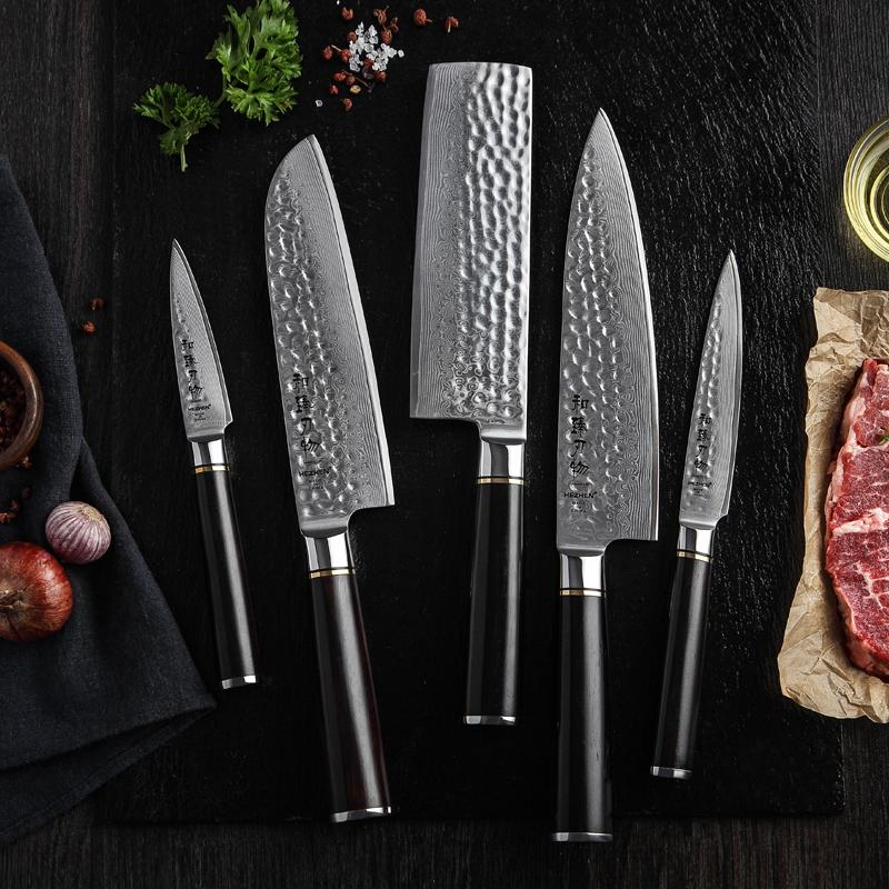 Damascus Kitchen Knife Set Set with Ebony Handles-knife set-Chef's Quality Cookware