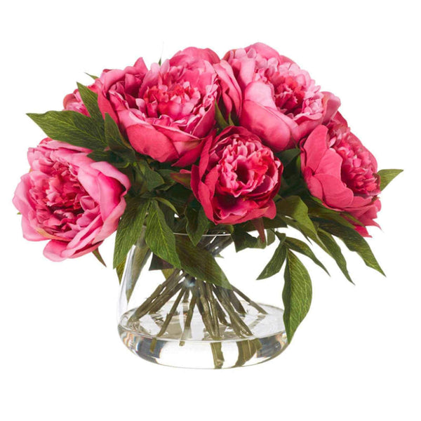 Dark Mauve Peony Flowers with Classic Vase - Artificial Flower Arrangement-artificial flowers and plants-Chef's Quality Cookware