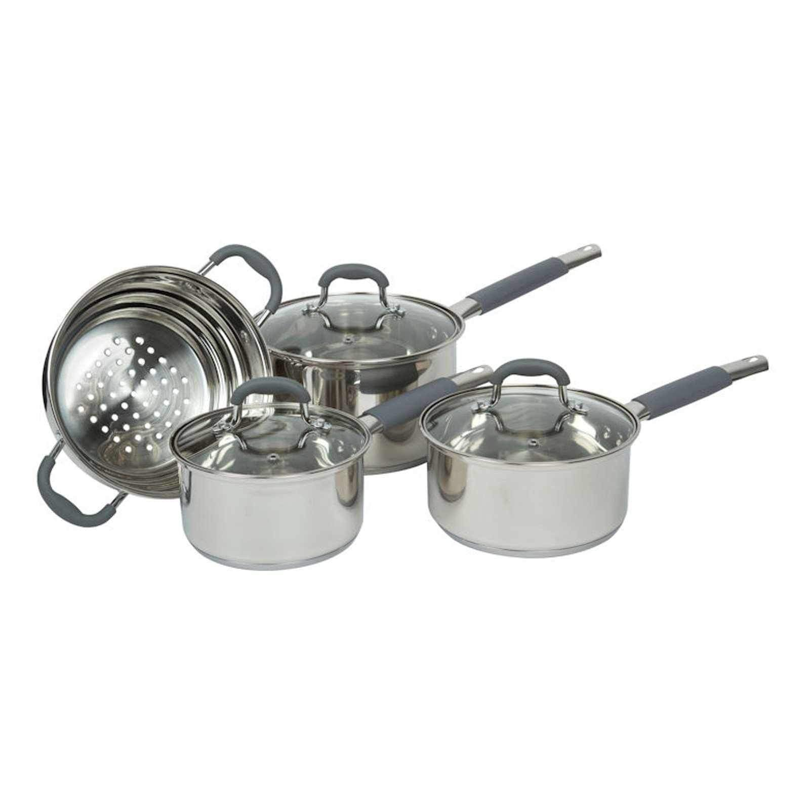 Davis & Waddell 4pcs Argon Cookware set Stainless Steel with Glass Lids-Stainless Steel Cookware Set-Chef's Quality Cookware