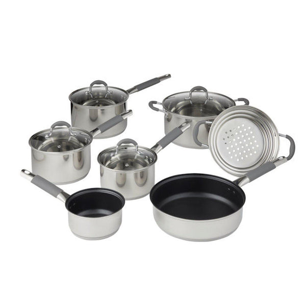 Davis & Waddell 7pcs Argon Cookware Set Stainless Steel with Glass Lids - Induction Compatible (RRP $429)-Stainless Steel Cookware Set-Chef's Quality Cookware