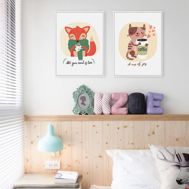 Fox & Kitten - Cartoon Wall Art Set-wall art-Chef's Quality Cookware