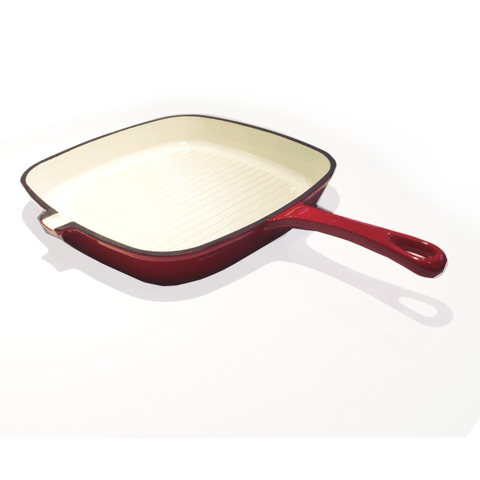 Chef's Quality Enameled Cast Iron Grill (Griddle) Pan 24cm-Frying Pan-Chef's Quality Cookware
