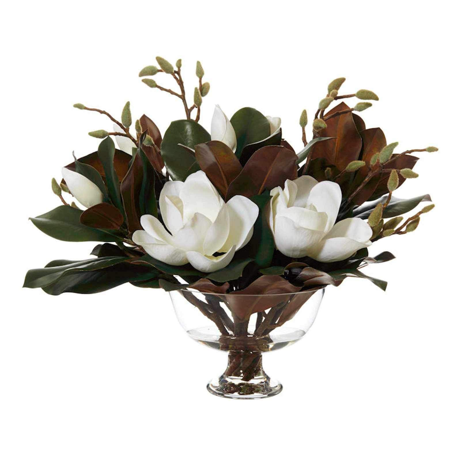 Magnolia Mix with Dahlia Bowl - Artificial Flower Arrangement-artificial flowers and plants-Chef's Quality Cookware