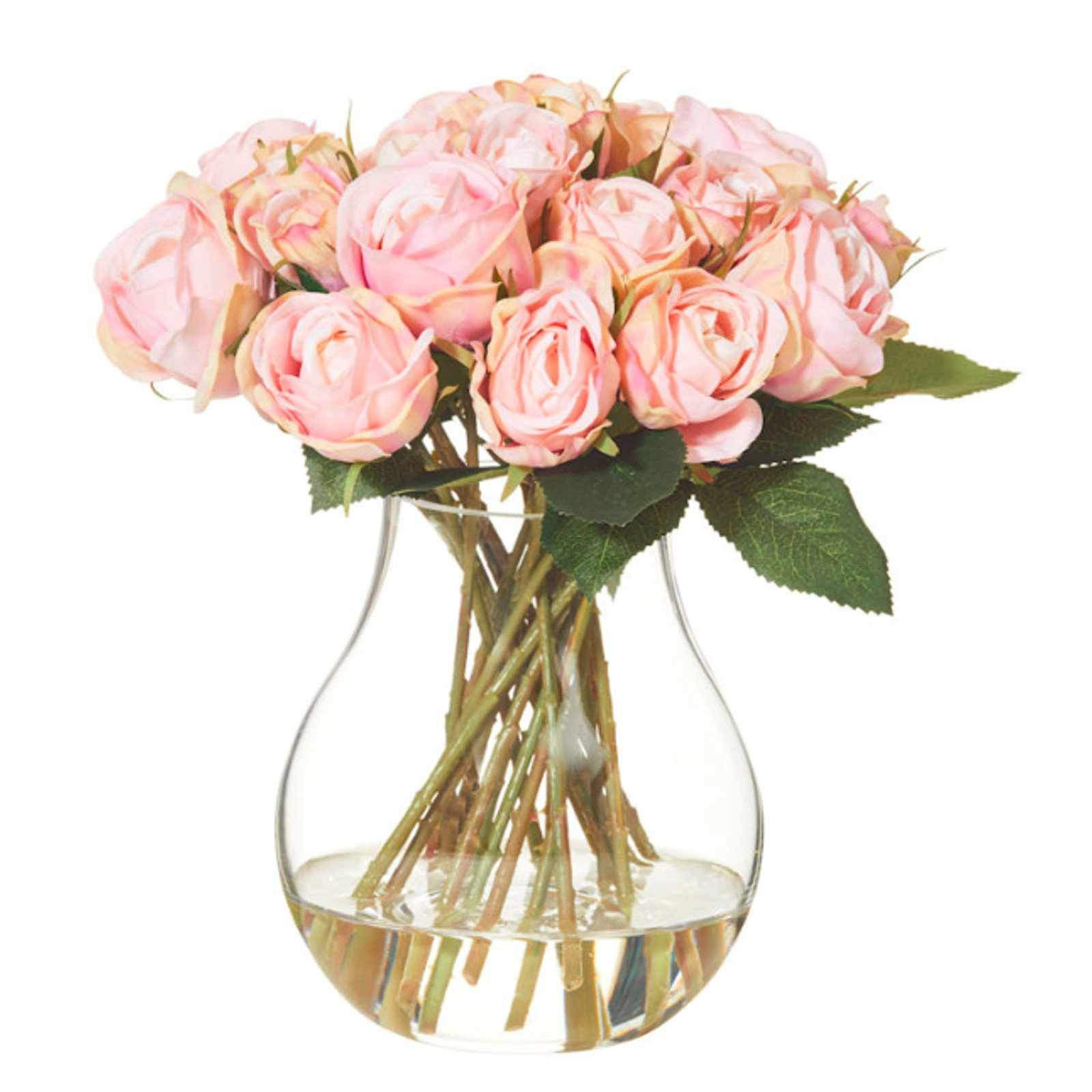 Mini Pink Rose Bouquet with Aria Vase - Artificial Flower Arrangement-artificial flowers and plants-Chef's Quality Cookware