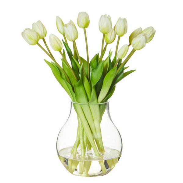 Mini Tulip Bouquet With Aria Vase - Artificial Floral Arrangement Yellow/White/Pink-artificial flowers and plants-Chef's Quality Cookware