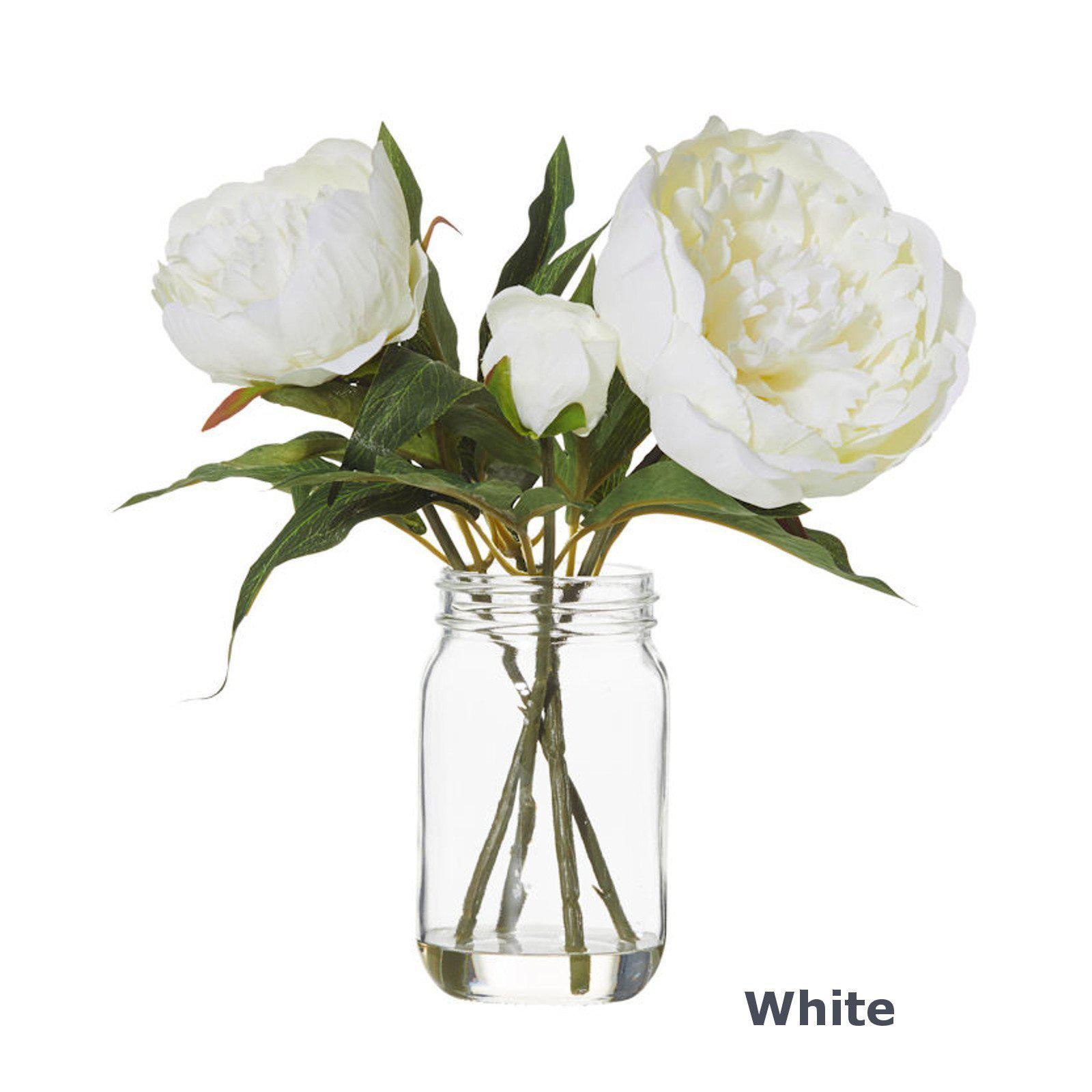 Peony Flowers & Glass Jar Vase - Artificial Floral Arrangement-artificial flowers and plants-Chef's Quality Cookware
