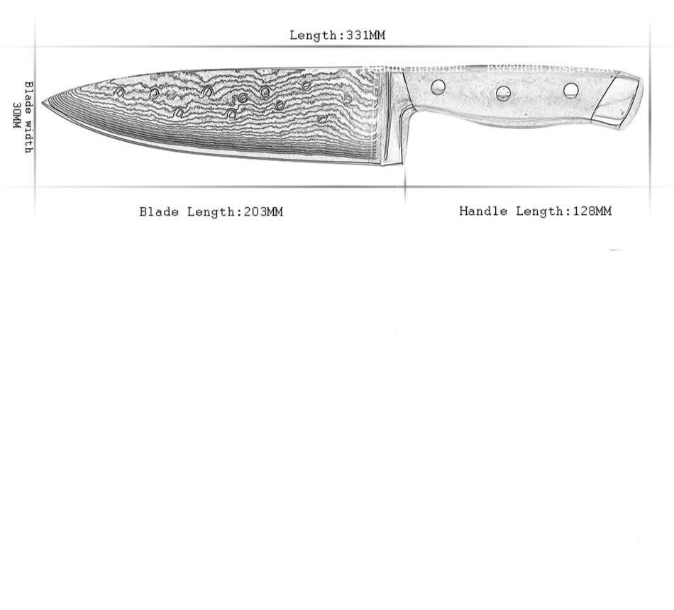 "8""inch Chef Knife With G10 Full Tang Handle"