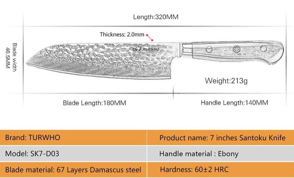 Classic Santoku Knife - 67 Layer Damascus Steel